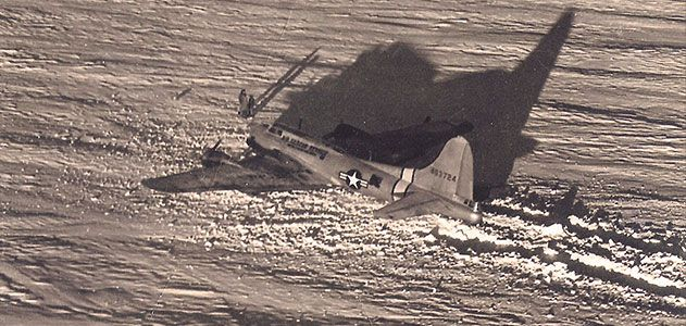 When seven men got stuck in a grim patch of Greenland in 1948, the Air Force sent a B-17 to rescue them, but it got mired in soft snow (top of montage), only worsening the predicament.