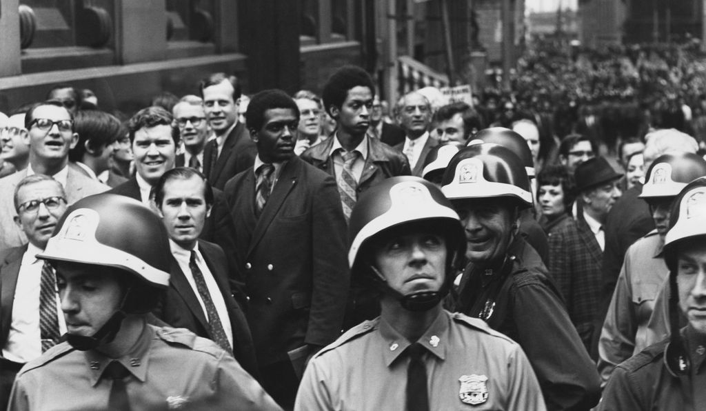 Police officers and crowds during the Hard Hat Riot in Lower Manhattan, New York City, May 8, 1970.