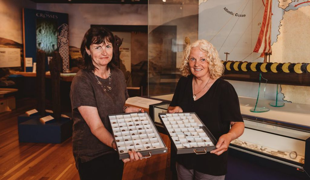 Manx National curator Alison Fox (left) and treasure-discoverer Kath Giles (right).
