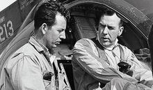 Crew chief Dick Lofland, left, with pilot Bob Ferry before the record-setting flight.