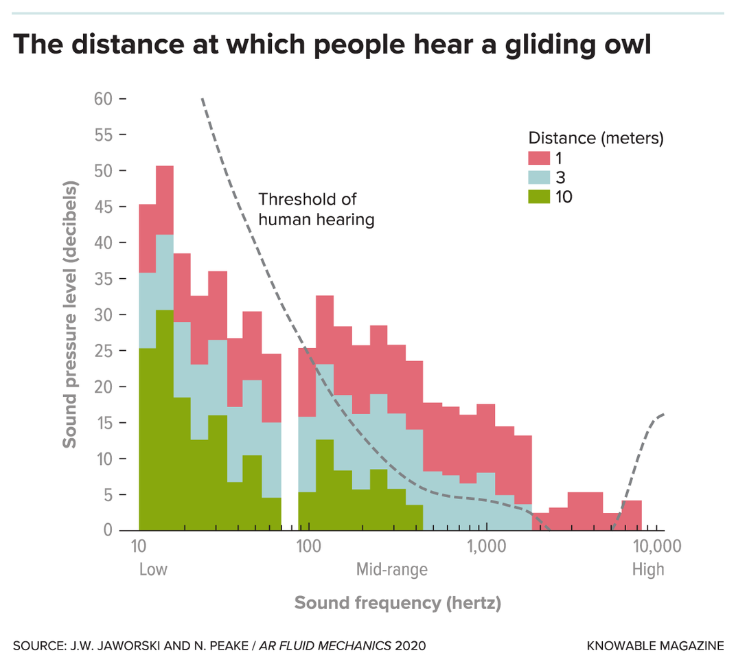 Graph showing distance at which people hear a gliding owl