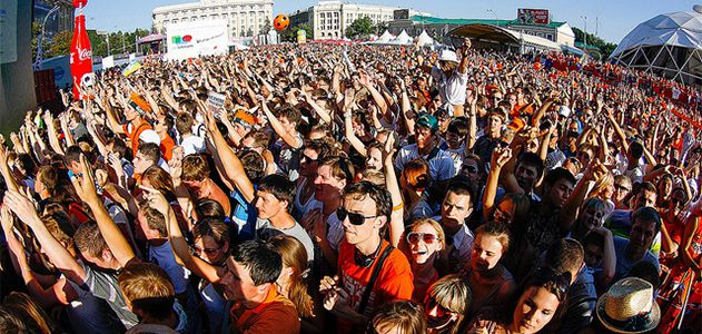 Thousands of Dutch fans celebrate a soccer match