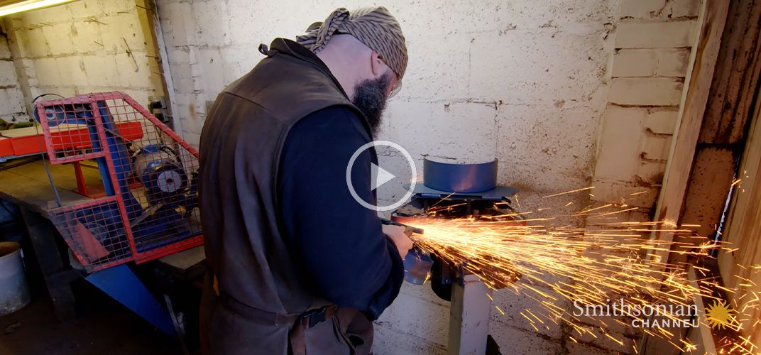 Caption: This London Blacksmith Forges Replicas of Medieval Swords