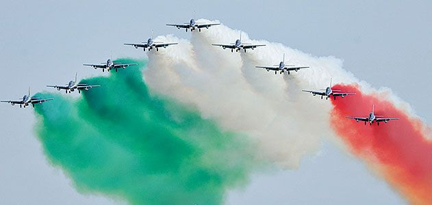 "<i>Ciao!</i> Italy's military precision jet team, Frecce Tricolori (""Tricolor Arrows""), makes its first visit to North America with performances on August 2 and 3 at the Experimental Aircraft Association's 34th Fly-in Convention in Oshkosh, Wisconsin. The"
