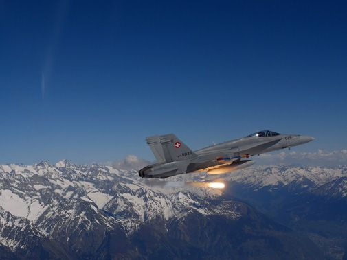An F/A-18 in flight over Switzerland.