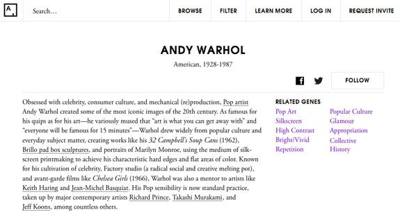 "Here, you can see Andy Warhol's ""genes,"" according to Art.sy."