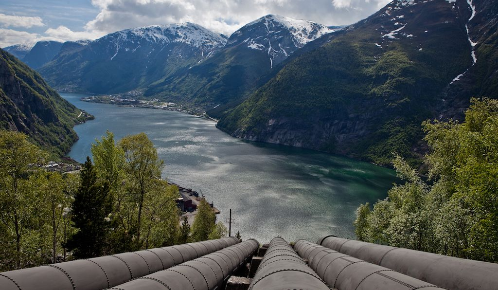 The fjord and the city of Odda seen from the top of the penstock that connects to the hydropower plant.