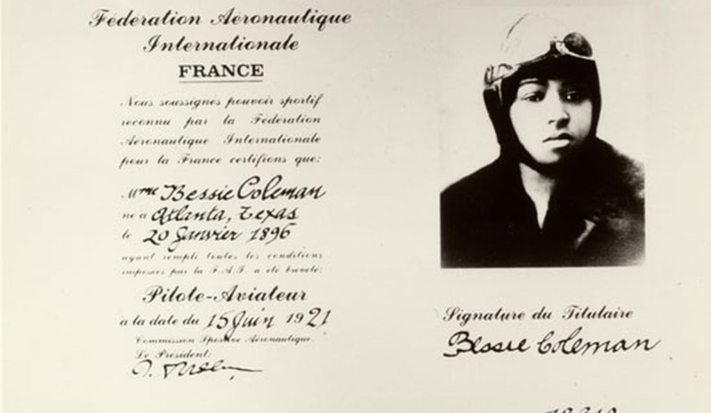 Bessie Coleman's pilot's license, issued in 1921 by the Fédération Aéronautique Internationale.