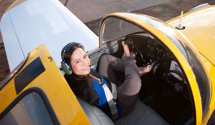 Jessica Cox sitting in her Ercoupe. (Photo courtesy of Jessica Cox)