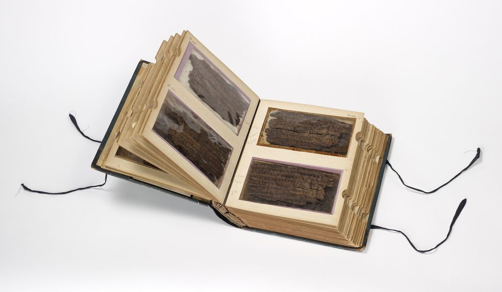Scholars are able to view both sides of the birch bark through the 'windows' of this specially designed book at the Bodleian Libraries.