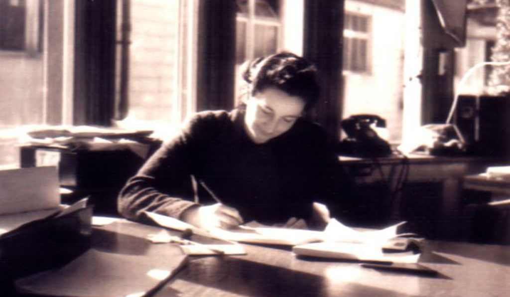 Joan Wingfield at her desk in Bletchley Park, 1939