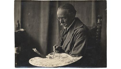 Portrait of Henry Ossawa Tanner with a palette, circa 1935 / unidentified photographer. Henry Ossawa Tanner papers, 1860s-1978, bulk 1890-1937. Archives of American Art, Smithsonian Institution.