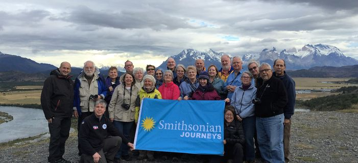 Smithsonian Journeys Patagonian Explorer travelers in Torres del Paine National Park