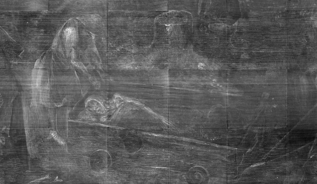 According to an exhibition curator, the corpse in the cart was painted over by a later artist sometime during the 17th or 18th century