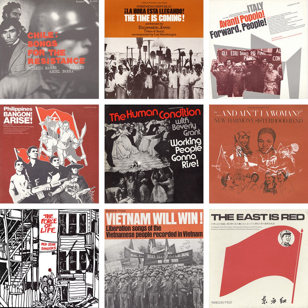 Grid of nine album cover artworks, all in red, black, white. Some titles: Chile: Songs for the Resistance, Vietnam Will Win! The East Is Red.