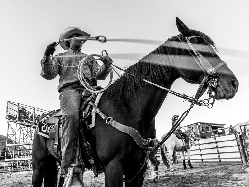 Calf roping warm-up at the Jackson Hole Rodeo, June 2019.