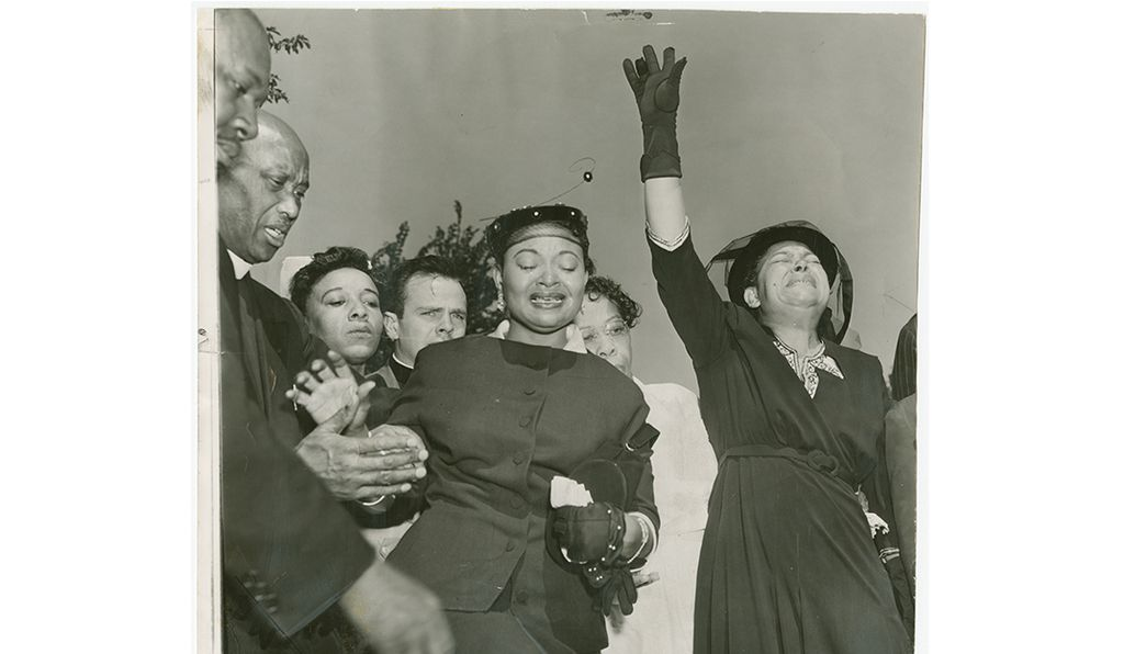 Mamie Till Mobley attends her son's funeral at the Burr Oaks Cemetery in Illinois.
