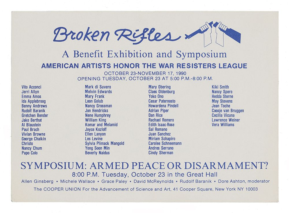 Postcard announcement with text in viarious fonts and a grphic of two hands breaking a rifle in half, printed in blue ink on white paper.