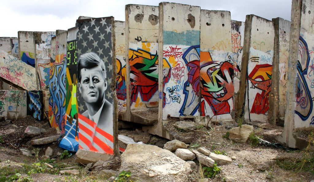 Sections of the Berlin Wall in Teltow, a town 11 miles from the center of Berlin. The artwork shown is not original—it was painted after the fall of the wall, by various artists.
