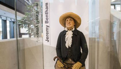 English Philosopher's Dressed-Up Skeleton Goes on View in New Glass Display