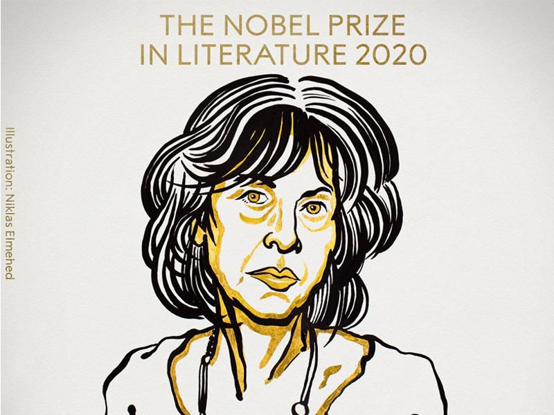 An illustration of Gluck rendered in black and white lines and yellow accents, with the Nobel Prize award listed above her head; Gluck stares at viewer with a serious expression