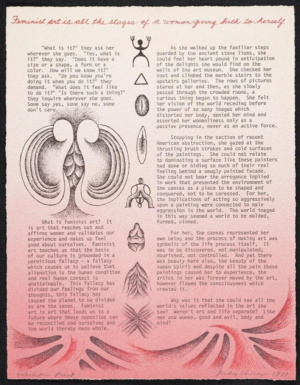 Pink paper with vulvic imagery and text about feminist art by Judy Chicago