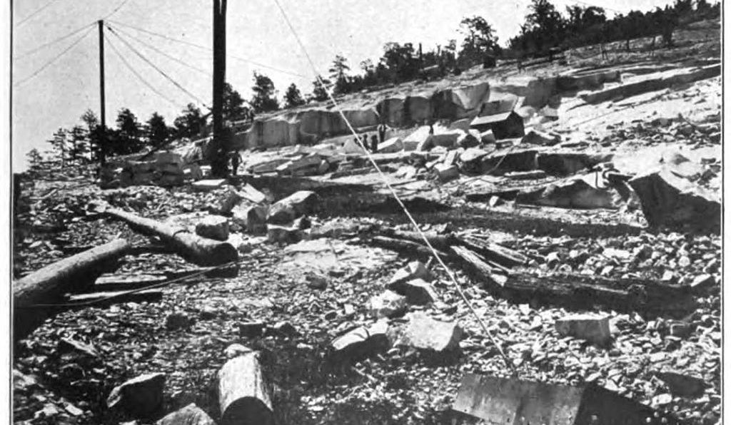 The Stone Mountain quarries were excavated for their granite in the late 1800s. Granite from the mountain was used in cities across the country.