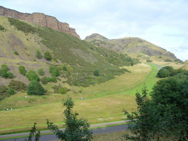 Salisbury Crags, on the left, and Arthur's Seat
