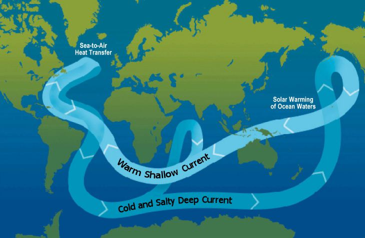 A schematic of modern thermohaline circulation.