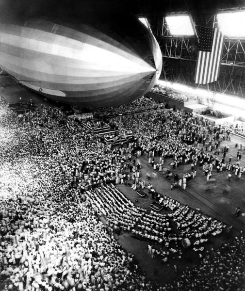 A new Navy airship gets a send-off in 1931.