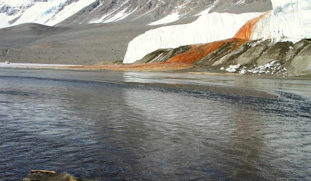 Flowing into Lake Bonney, ancient microbes live in Blood Falls.