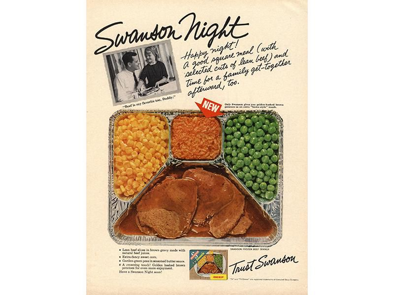 A vintage Swanson TV dinner advertisement