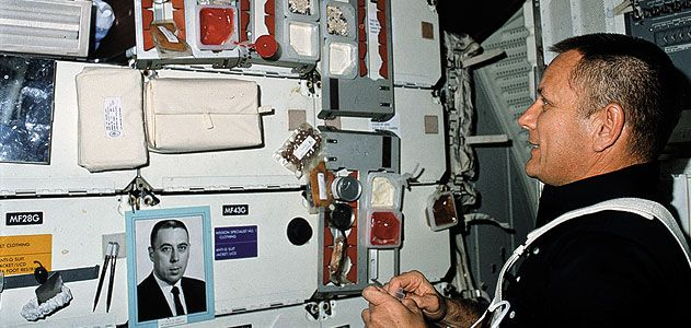 In a joking nod to George Abbey's power over manned spaceflight, astronauts (like STS-5's Bob Overmyer) sometimes carried his photo into orbit.
