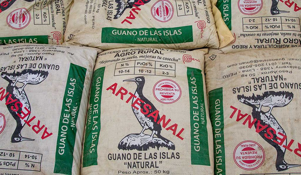 Guano bags ready for distribution and sale in Lima, Peru