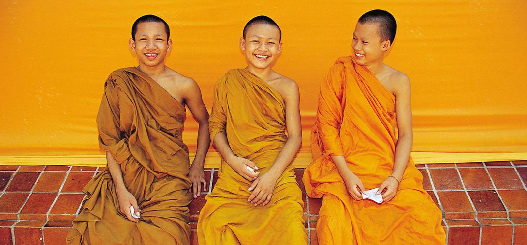 Smiling Monks in Bangkok, Thailand