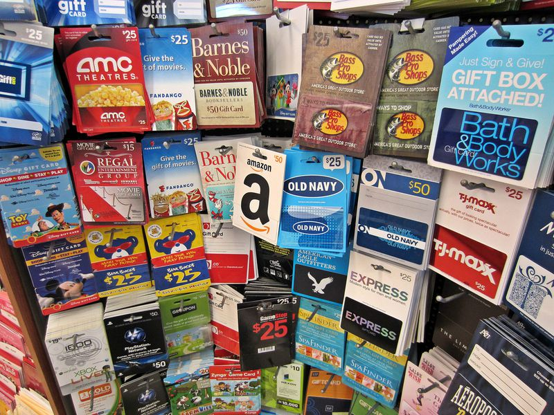 Gift cards at a store