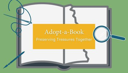 "Introductory graphic for ""Adopt-a-Book: Preserving Treasures Together"" video series. (Smithsonian Libraries and Archives)"