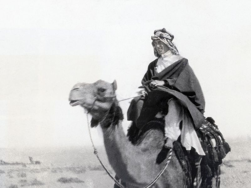 T.E. Lawrence on a camel