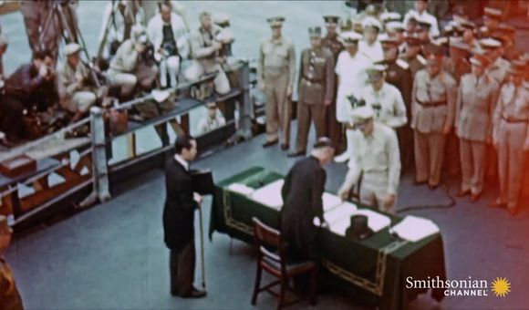 Preview thumbnail for video'Footage of the Moment the Japanese Surrendered