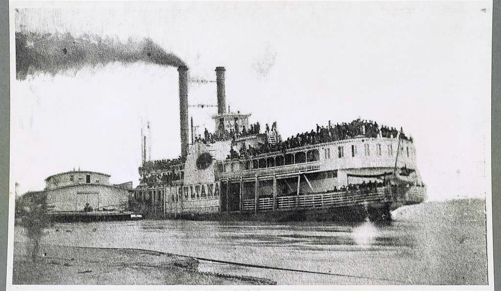 The overloaded Sultana on the Mississippi before the explosion.