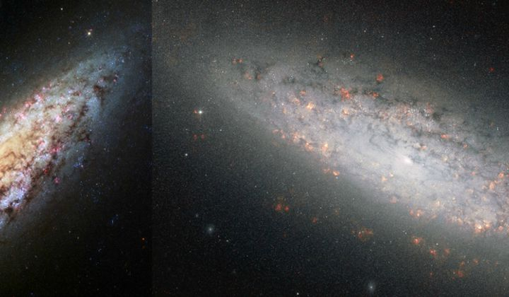 Left: NASA, ESA, D. Calzetti (University of Massachusetts, USA) and H. Ford (Johns Hopkins University, USA). Right: ESA/Hubble and NASA