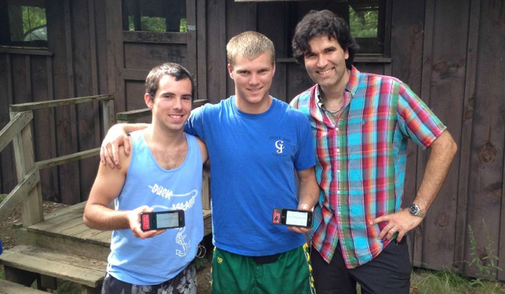Campers using the bionic pancreas during one of the trials, with principal clinical investigator Steven Russell.