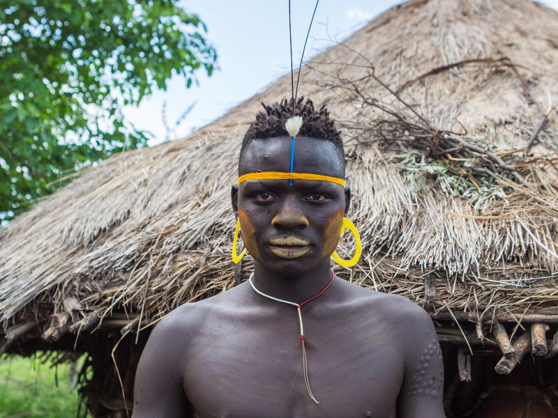 Mursi Blue II   Young Boy from the Mursi Tribe, Omo Valley