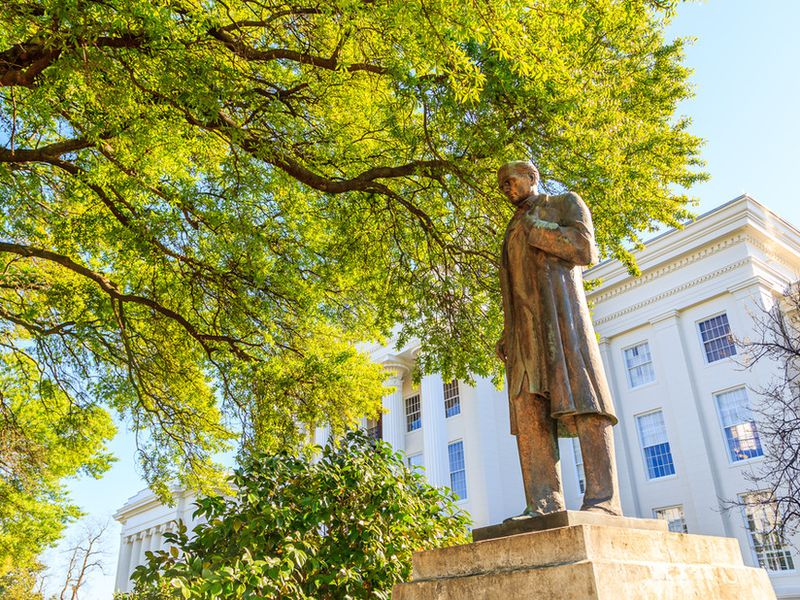 Statue of James Marion Sims in front of the Alabama State Capitol.