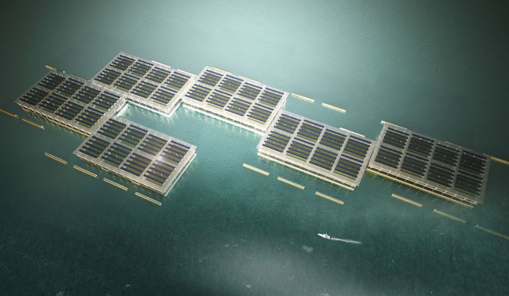 Much of the power needed for the floating farm would come from rooftop solar arrays.