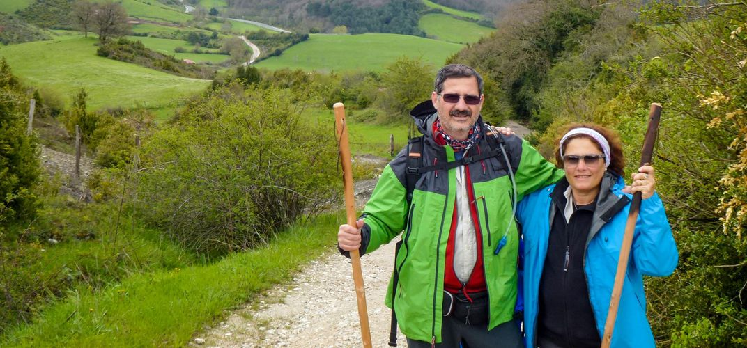 Travelers along the Camino de Santiago
