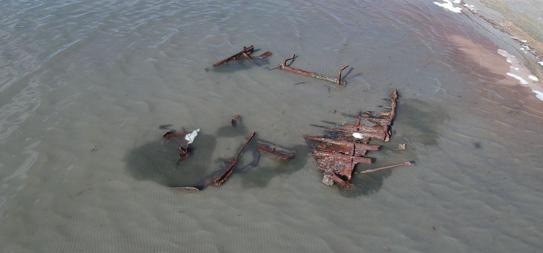 Caption: Storm Uncovers Wreck in Great Salt Lake