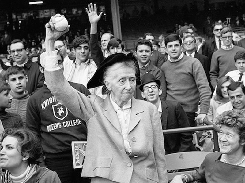Poet Marianne Moore Tosses First Ball
