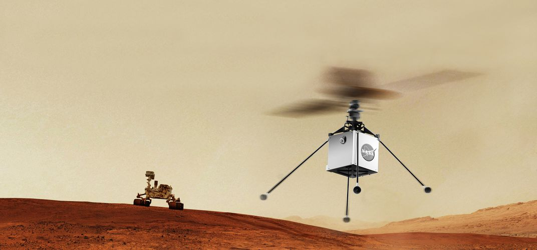 Caption: A Helicopter Dreams of Mars