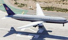 A Boeing 767-300 lands on Los Angeles International Airport's runway 25L.